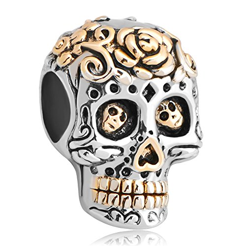 LuckyJewelry Gold Plated Skull Cross Silver Plated Dia De Los Muertos Beads fit Bracelet