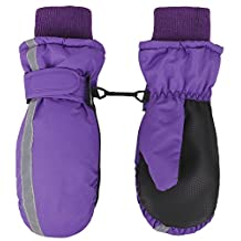 SimpliKids Girl's 3M Thinsulate Waterproof Winter Snow Ski Mitten Gloves, Purple