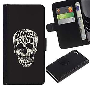 NEECELL GIFT forCITY // Billetera de cuero Caso Cubierta de protección Carcasa / Leather Wallet Case for Apple Iphone 5 / 5S // Baila al cráneo ¡Muerte