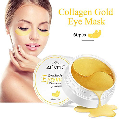 Eye Gel Under Pads Eye Treatment Mask, 24K Gold Gel Collegan Eye mask Eye Patchs for Eye Moisturizing, Lightens Dark Circles and Reduces Bags Under Eyes, Moisturizes and Anti Aging Skin(60pcs) ()
