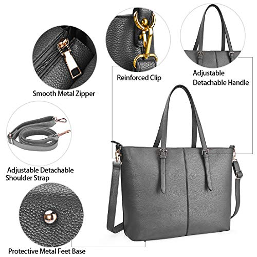Laptop Tote Bag for Women 15.6 Inch Waterproof Lightweight Leather Computer Laptop Bag Women Business Office Work Bag Briefcase Large Travel Handbag Shoulder Bag Grey