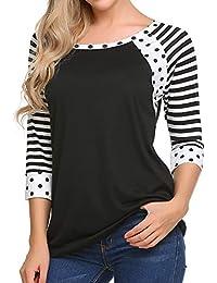 Women's Polka Dots Shirt Striped 3/4 Sleeve Casual Scoop Neck Tops Tee S-XXL