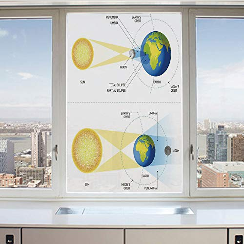 3D Decorative Privacy Window Films,Solar and Lunar Eclipse Planet Earth Sun Moon Orbit Astronomy Science Decorative,No-Glue Self Static Cling Glass Film for Home Bedroom Bathroom Kitchen Office 24x36