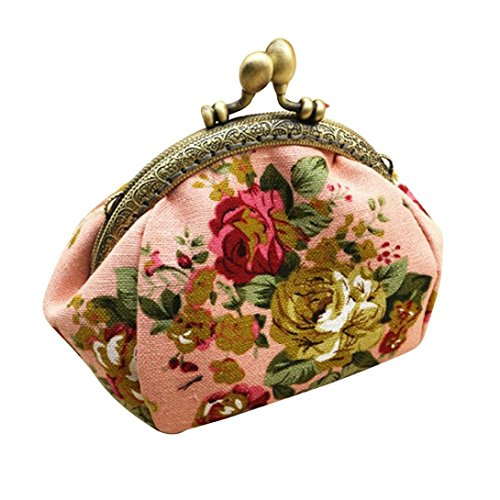 (Qisc Cute Wallet, Ladies Women Change Purse Retro Vintage Flower Small Wallet Hasp Purse Clutch Bag (Pink))