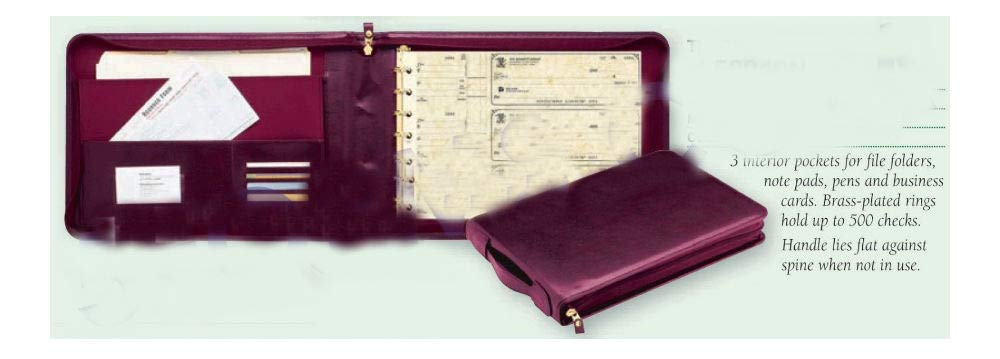 New - 3 On A Page Real Leather Zippered Portfolio Burgundy 7 Ring Check Binder by Unknown