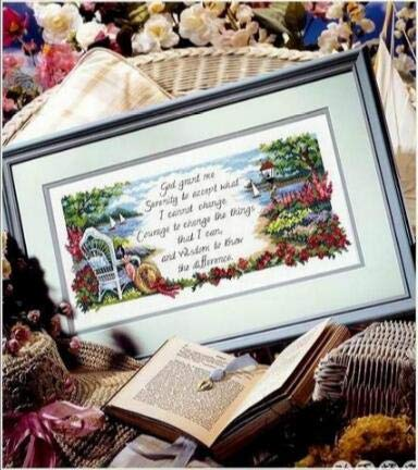 (Zamtac Gold Collection Lovely Counted Cross Stitch Kit Serenity Prayer Chair Sea Boat Vessel Lighthouse dim 349 - (Cross Stitch Fabric CT Number: 16CT unprint Canvas))