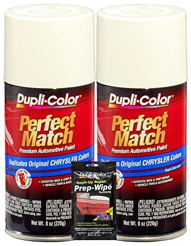 (Dupli-Color Stone White Perfect Match Automotive Paint for Chrysler Vehicles - 8 oz, Bundles with Prep Wipe (3 Items))
