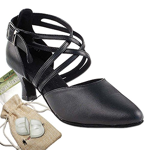 Womens Ballroom Dance Shoes Party Salsa Practice Dance Shoes Black Leather S9110EB Comfortable - Very Fine 2