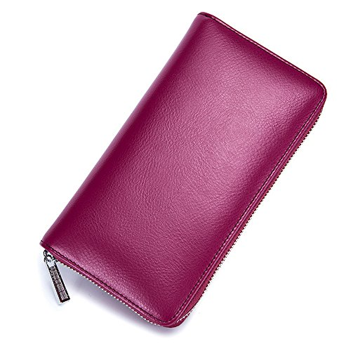 Minimalist Real Cowhide Split Leather RFID Blocking Credit Card Holder Big Passport Wallet (Rose Purple) (Rose Purple Leather Purse)