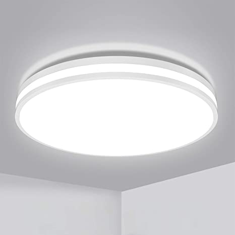 Amazon Com Ouesen Led Flush Mount Ceiling Light Fixture 1850lm 5000k White Led Ceiling Lights 20w Ceiling Lamp Ip44 Waterproof For Bedroom Bathroom Kitchen Hallway Living Room Home Improvement