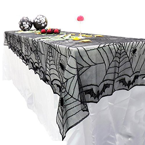 Fyore Halloween Black Lace Tablecloth Spider Web Table Cover for Party Festival Table Decorations (48X96 inches)