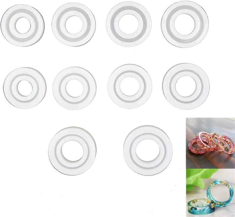 ruiruiNIE 6Pieces DIY Rings Silicone Mold Jewelry Pendant Rings Resin Casting Circle Mould Ring Diameter Size:16mm