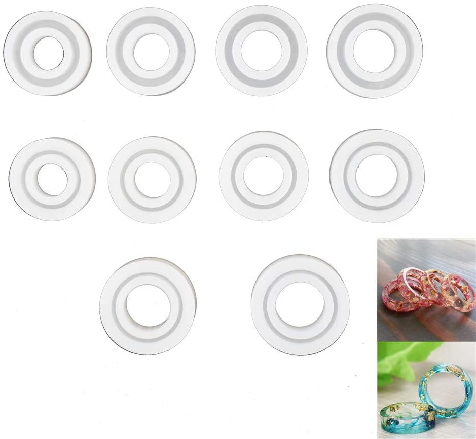 10pieces Pack Ring Silicone Mold for Resin Epoxy, Unique Jewelry Making, Resin Casting Mould