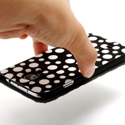 JUJEO Polka Dots Wake Sleep S View Stand Leather Wallet Case for Samsung Galaxy S 4 i9500 i9505 - White Dots/Black - Non-Retail Packaging