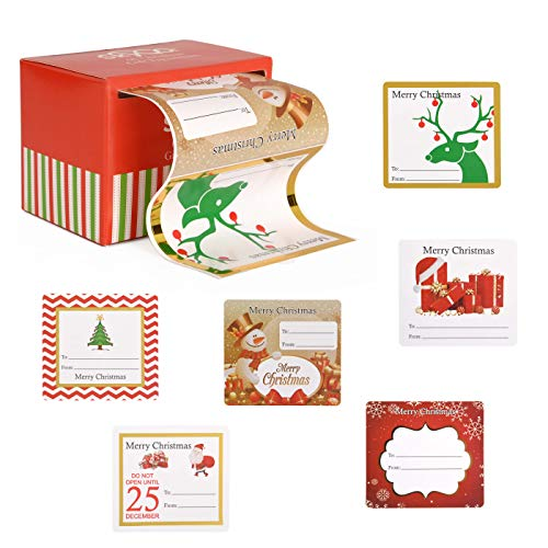 Christmas Gift Tags Sticker Labels Adhesive Jumbo 60 Count - Holiday Label Stickers Tags for Gifts, Presents, Wrapping Paper, Bags - 6 Festive Metallic Xmas Designs White, Red, Green, Gold