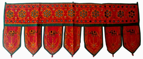 Home Decorative Indian Embroidered Elephant Design with Mirrors Window Valence Door Hanging Toran For Sale
