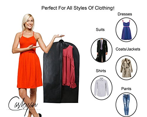 Caskyan 42'' Garment Bags, Breathable Black Non-Woven Fabric + Clear PVC for Dresses, Coats, Suits, Storage or Travel- 2 Pcs by CASKYAN (Image #2)