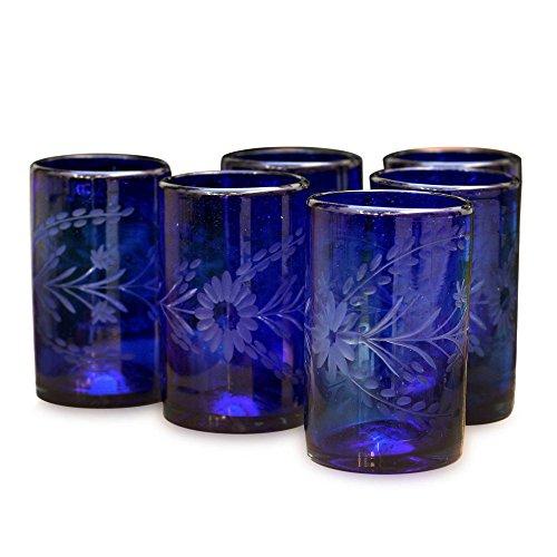 NOVICA 154607 ' 'Blue Blossoms' Cordial-Glasses, 5