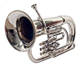 3 Valve Siver Chrome Euphonium Bb Pitch Eupho Brass Musical Instrument With Free Case Box & Mouth Pc.