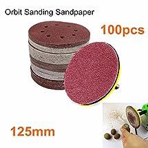INSMA 100pcs 125mm 5'' Sanding Sandpaper Discs 60 80 120 240 Grit Orbital Sander Pad