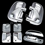 99-07 Ford F250+F350+F450 Super Duty Triple Chrome Plated Mirror, 4 Door Handle with Passenger Keyhole, Tailgate Handle Cover