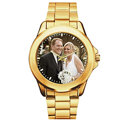 Gold Watches for Men Customized Photo or Name, Personalized Gift for Husband, Boyfriend, Father's Day Wedding (Photo Watch)
