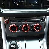 4Pcs/Set for Land Rover Range Rover Sport Vogue Autobiography 2014-2017 Aluminum Alloy Air Conditioning Knob Audio Circle Trim (red)