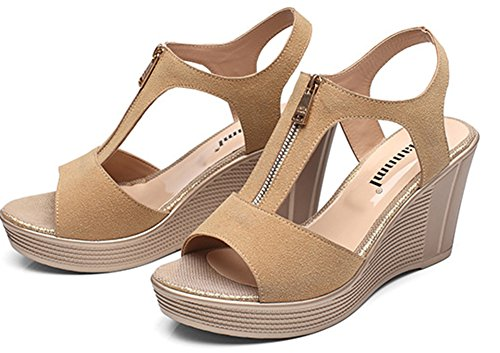 Ruée Style Fermeture Eclair Fille Aisun Mode Abricot Plateforme Femme Sandales AnqYnZXw