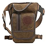 Vintage Mens Waist Drop Leg Bag Thigh Canvas Leather Messenger Outdoor Sport Travel Pouch Motorcycle Tactical Fishing Crossbody(brown)