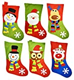 Set of 6 - 18'' Santa, Snowman, Reindeer, Polar Bear, & Owl Christmas Holiday Stockings with Hanging Tag
