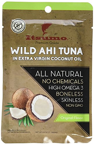 Itsumo Wild Ahi Tuna in Extra Virgin Coconut Oil - Premium Grade Yellowfin Tuna Fish - Healthy & All Natural Ingredients - Paleo & Gluten Free Protein Snack