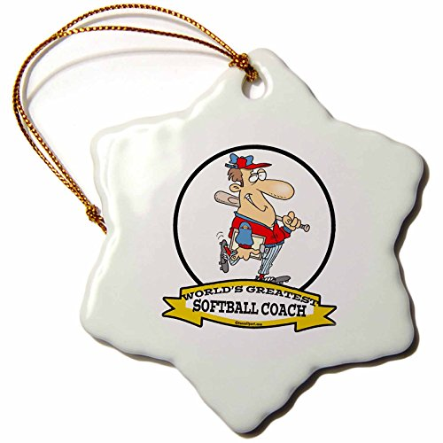 3dRose Dooni Designs Worlds Greatest Cartoons - Funny Worlds Greatest Softball Coach Occupation Job Cartoon - 3 inch Snowflake Porcelain Ornament (orn_103569_1)