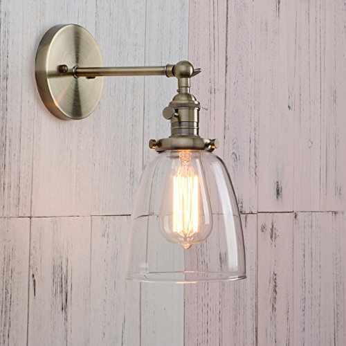 Permo Industrial Vintage Single Sconce With Oval Cone Clear Glass Shade 1-light (Cone Wall Lamp)