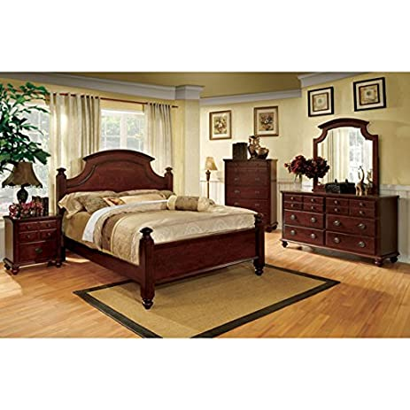 Wonderful Gabrielle French Country Style Dark Cherry Finish Queen Size 6 Piece Bedroom  Set