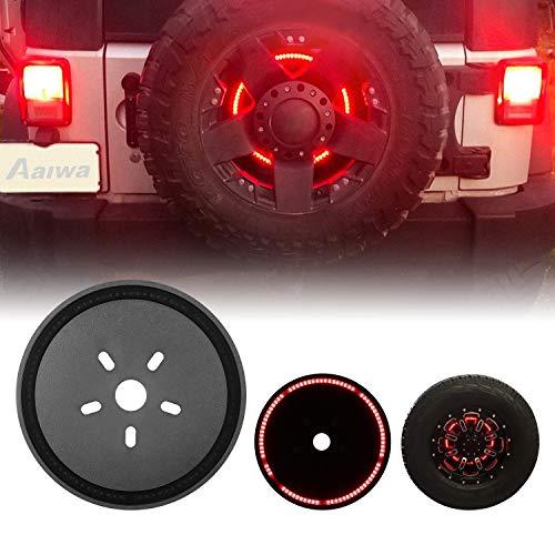 Tire Brake Light, AAIWA Spare Tire 3rd Third Brake Light Rear Wheel Light LED Ring for Jeep Wrangler 2007-2017 JK TJ LJ YJ CJ, 1 Year Warranty