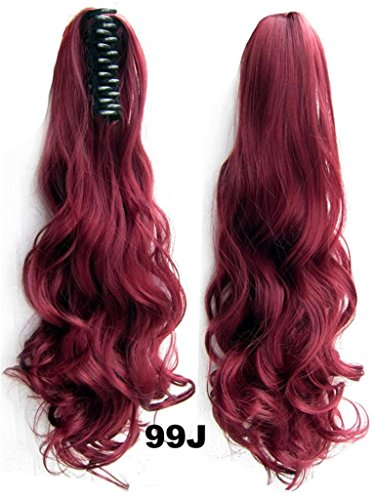 Beauty Wig World 20inch 50cm 100g Long Wave Curly Double Usage Synthetic Hair Clip Ponytails Pony Tail Hair Extensions - #99J Dark wine
