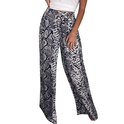 (Women's Summer Casual Pants Fashion Women High Waist Leopard Print Casual Long Pants Wide Leg Pants)