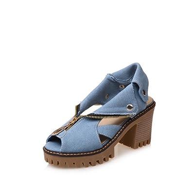 Femmes Chaussures Synthétique Microfibre PU Été Automne Confort Nouveauté Sandales Talon Stiletto Peep Toe Boucle pour Noce Et Soirée (Couleur : B, Taille : 41)