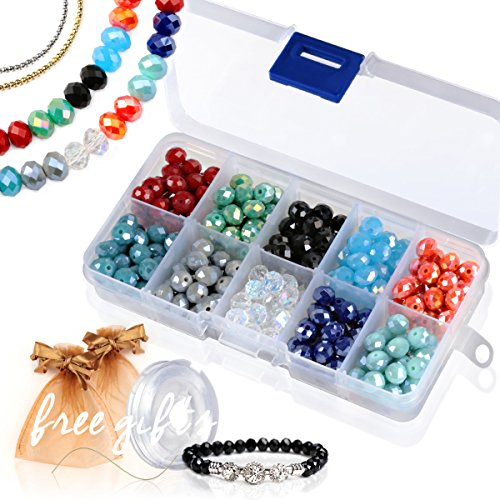 Briolette Faceted Rondelle Crystal Glass Beads in Assorted Color with Spacers and Container Box for Jewelry Making (#101, 8mm)