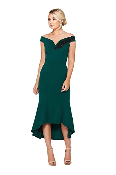 e047d7f5 Quiz Bottle Green Bardot Dip Hem Occasion Dress - Size 10-18 (12):  Amazon.co.uk: Clothing