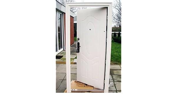 Puerta, Puerta, Puerta, Puerta Seguridad, interior y exterior izquierda 860 x 2050 mm, color blanco: Amazon.es: Hogar