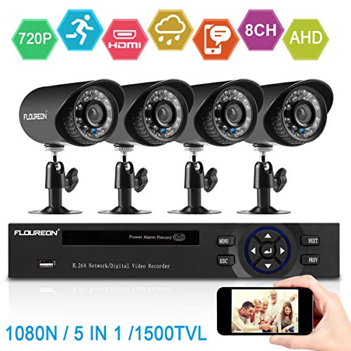 FLOUREON 8CH Home Security Camera System Outdoor DVR 720P 4PCS HD-AHD Camera 5 in 1 Digital Video DVR CCTV Recorder (HDD Not Included)