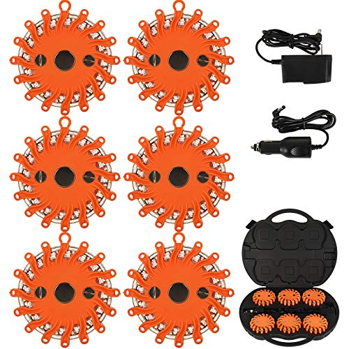 Happybuy 6 Pack LED Road Flares Rechargeable LED Disc Road Flares Emergency Strobe Light Kit Roadside Flashing Light Beacon w/Charger & Carrying Case