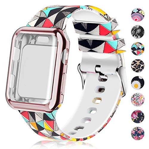 Compatible for Apple Watch Band with Screen Protector Case, Soft Silicone Sport Wristband for Apple Watch iwatch Series 3 2 1 (38mm,Stereoscopic Image)