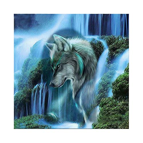Diamond Painting Paint by Number Kits, DIY 5D Full Drill Embroidery Painting Cross Stitch Crystal Rhinestone Dotz Arts Craft for Adults Kids Home Bedroom Wall Decor Gift (Wolf)