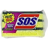 Clorox 91029 S.O.S Heavy-Duty Scrubber Sponge 3-Pack (Case of 8)