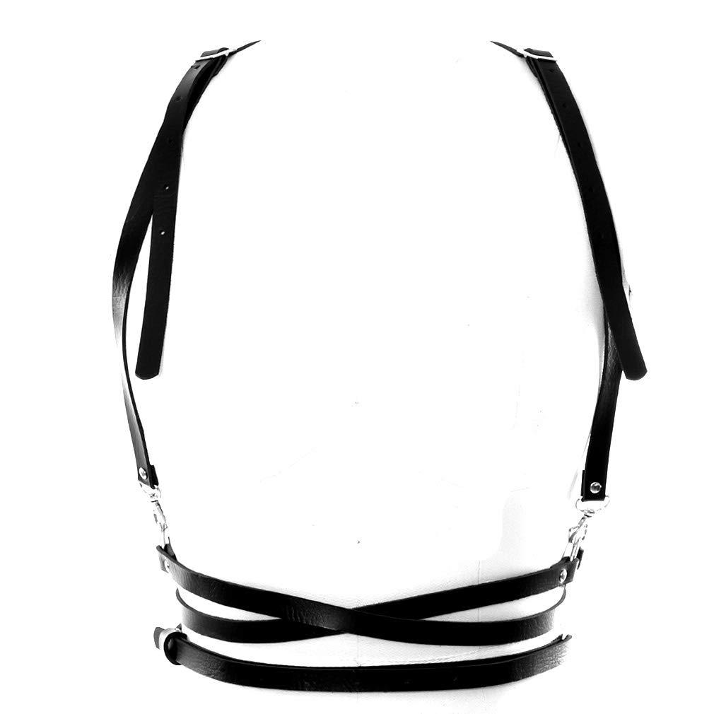 BBOHSS Black Chest Body Harness Bra Adjustable cage Burlesque Goth Fashion Elastic