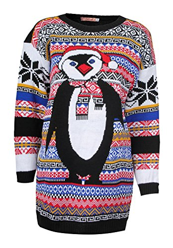 Forever Women's Aztec Penguin Print Neon Colourful Christmas Jumper