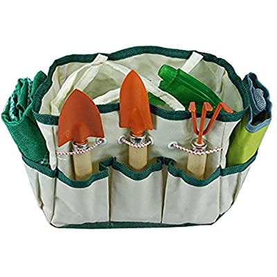 Green Burgeon Garden Tools Sets 8-Piece Including Gloves, Bag, PVC Line, Watering Can, Waist Bag and 3 Small Pieces Tools