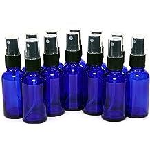 GPS High Quality Cobalt Blue Boston Round Glass Bottle with Black Fine Mist Sprayer, 2 Oz, Set of 12